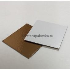 Подложка квадратная 80х80, золото/белый, толщина 1,5мм (фасовка 10 шт)