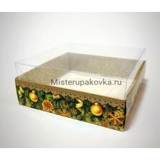 Коробка комбинированная 145х145х60 Новогодняя