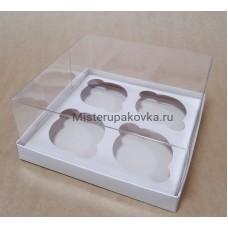 Коробка под 4 изделия 170х170х80, белый, с вложением (фасовка 5 шт.)