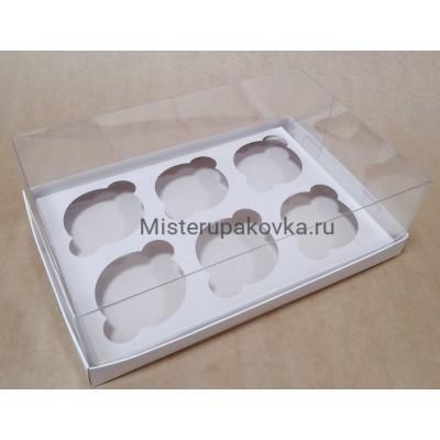 Коробка под 6 изделий 260х170х80, белый, с вложением (фасовка 5 шт.)