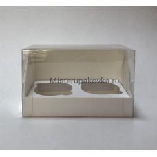 Коробка под 2 капкейка с пластиковой крышкой, 160х100х100мм, белый