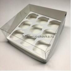 Коробка 235х235х100 с пластиковой крышкой на 9 капкейков (фасовка 5 шт)